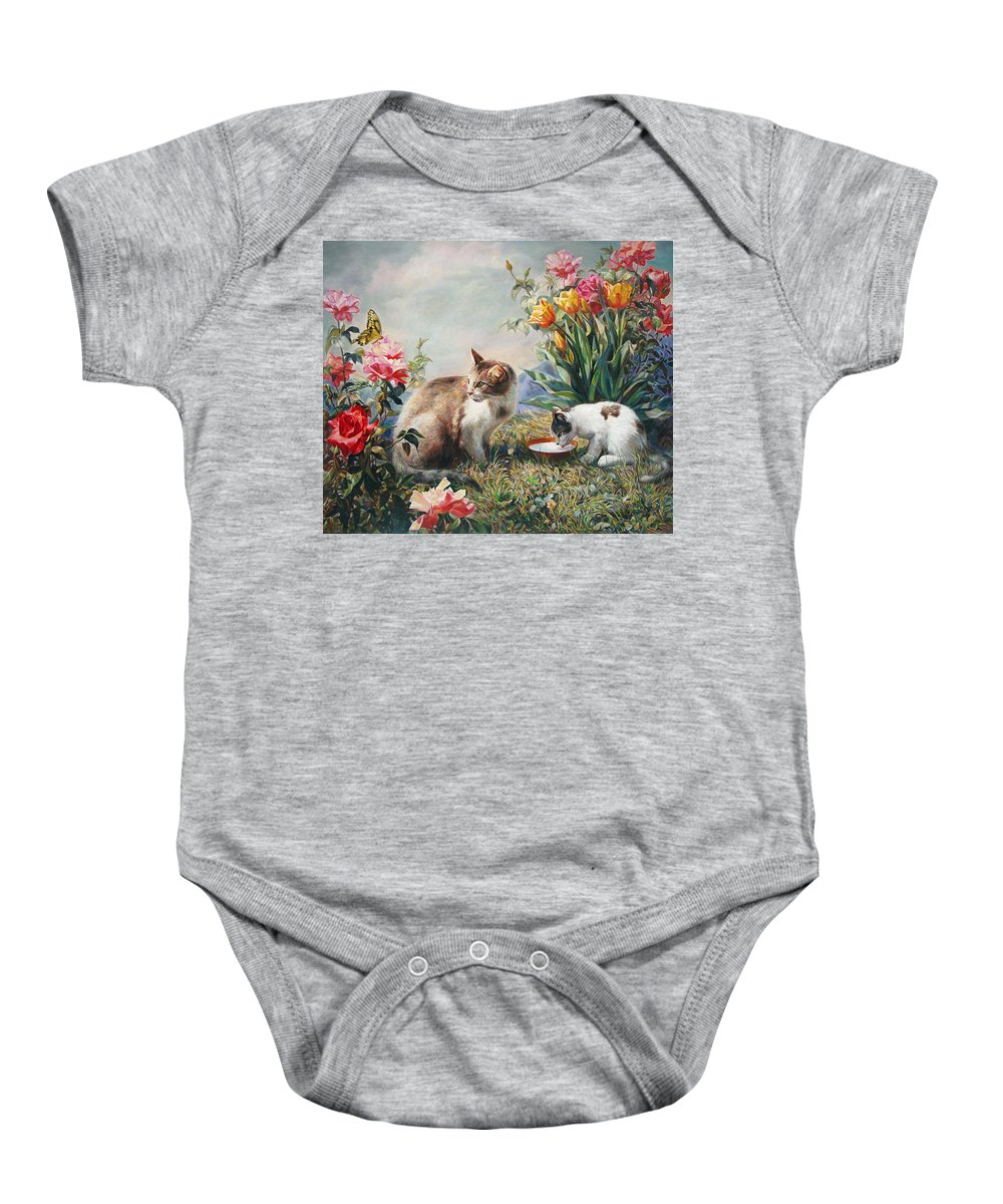 Milk Baby Onesie featuring the painting What A Girl Kitten Wants by Svitozar Nenyuk