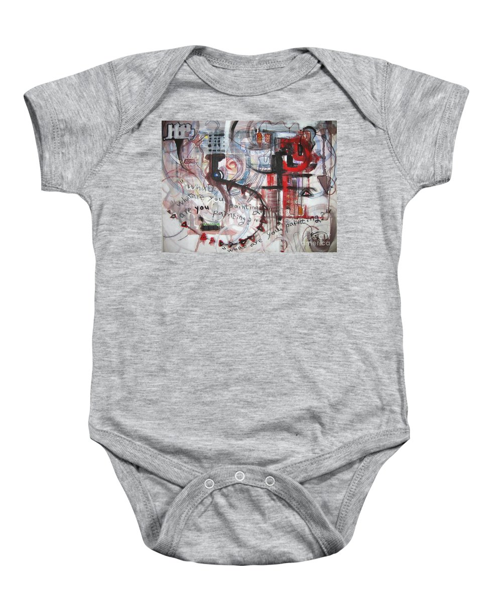 Abstract Paintings Baby Onesie featuring the painting What Are You Painting-red And Brown Painting by Seon-Jeong Kim