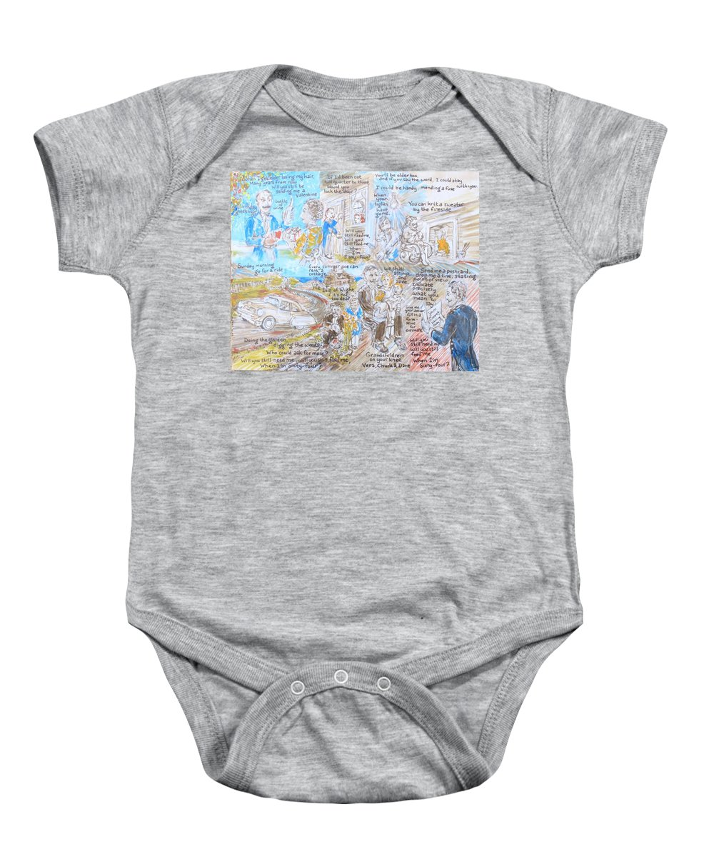 John Lennon Paul Mccartney George Harrison Ringo Starr Sergeant Pepper's Lonely Hearts Club Band The Beatles 1967 Baby Onesie featuring the painting When I'm Sixty-four by Jonathan Morrill
