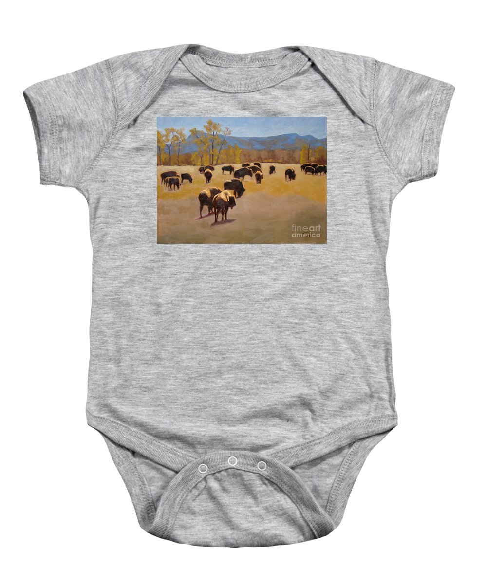 Buffalo Baby Onesie featuring the painting Where The Buffalo Roam by Tate Hamilton