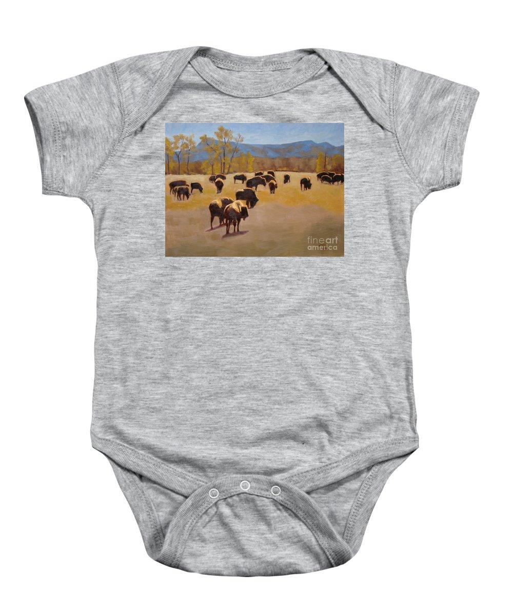 Buffalo Baby Onesie featuring the painting Where the buffalo roam by Tate Hamilton