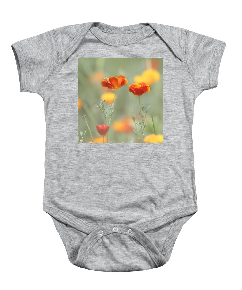 Orange Flower Baby Onesie featuring the photograph Whimsical Summer by Kim Hojnacki