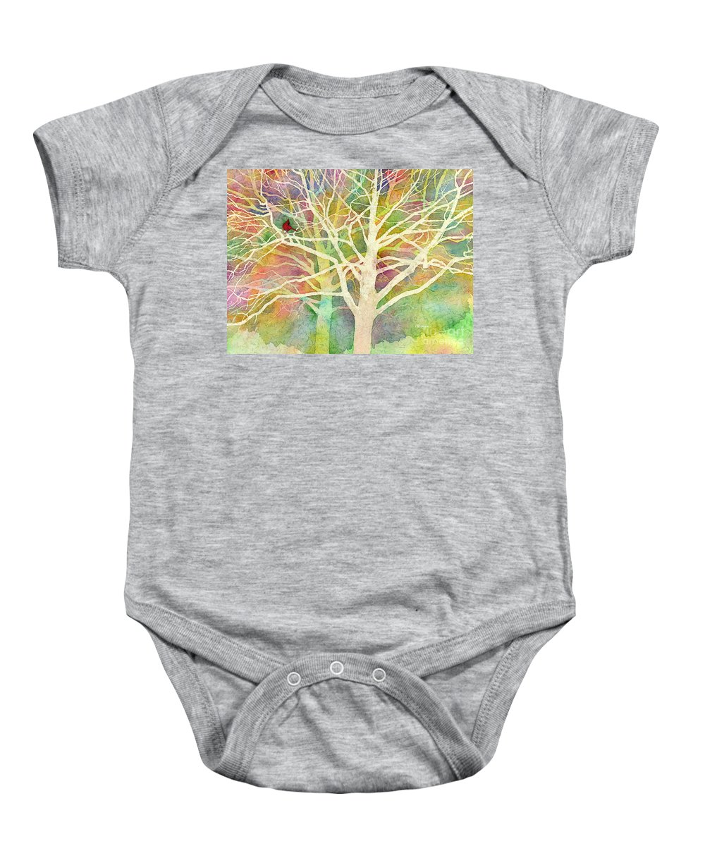 Cardinal Baby Onesie featuring the painting Whisper by Hailey E Herrera