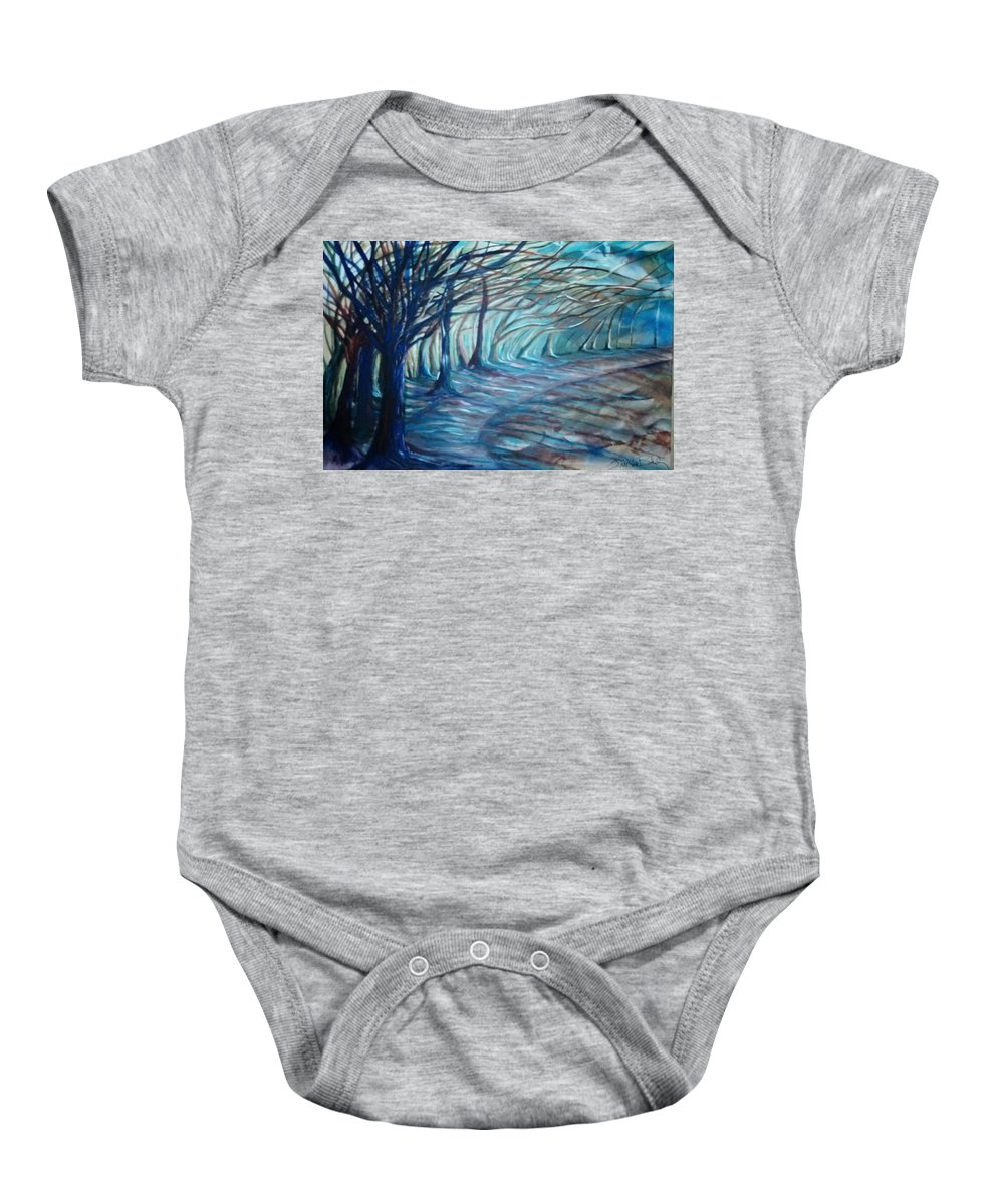 Surreal Landscape Baby Onesie featuring the painting Whisper by Jan VonBokel