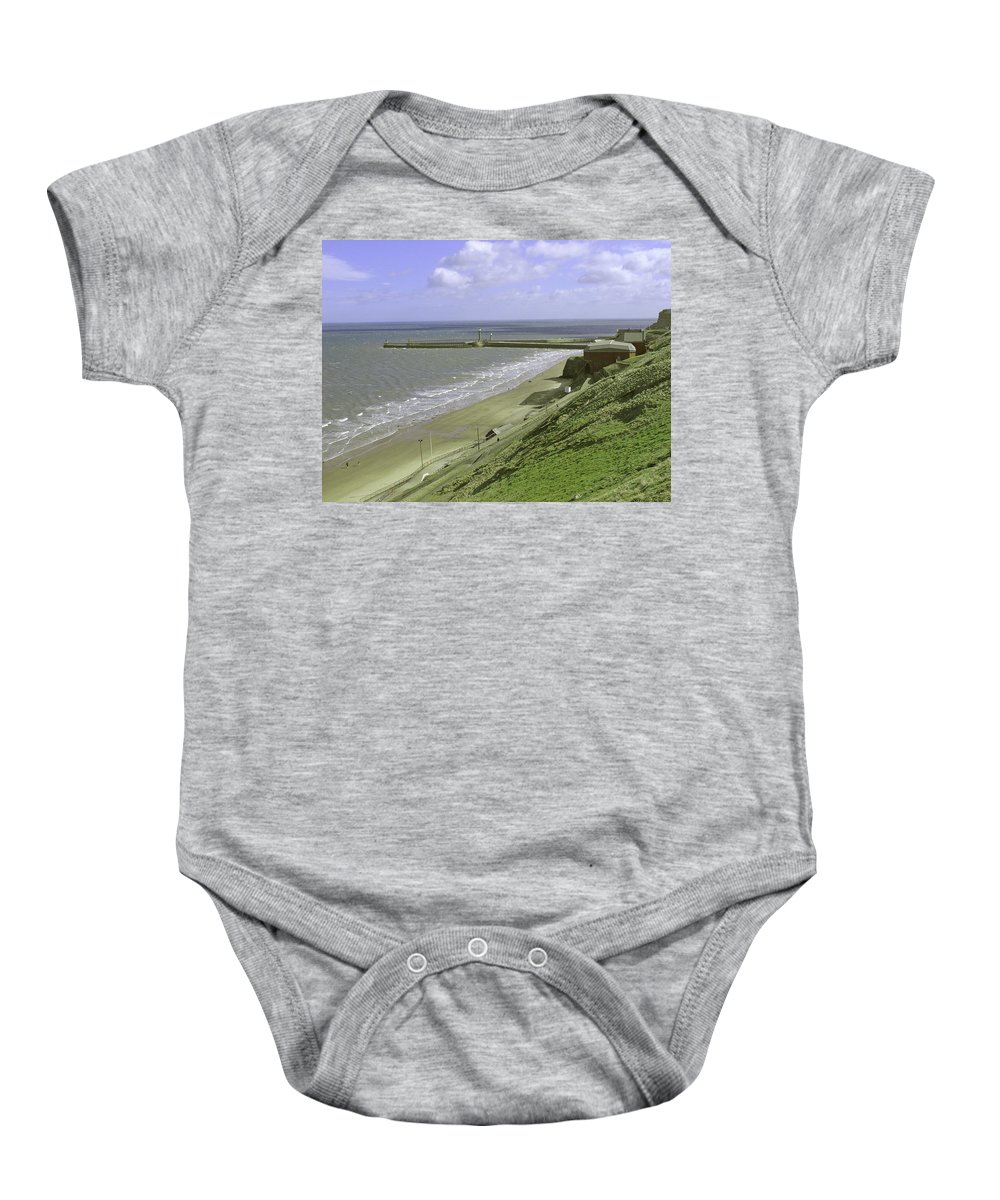 People Baby Onesie featuring the photograph Whitby Piers by Rod Johnson