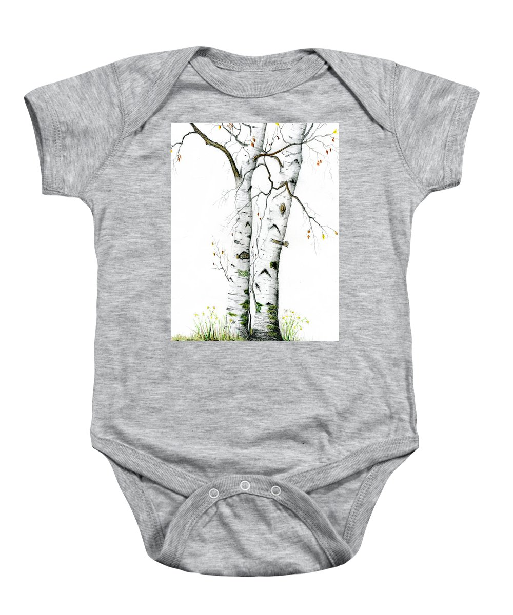 White Birch Baby Onesie featuring the painting White Birch by Mary Tuomi