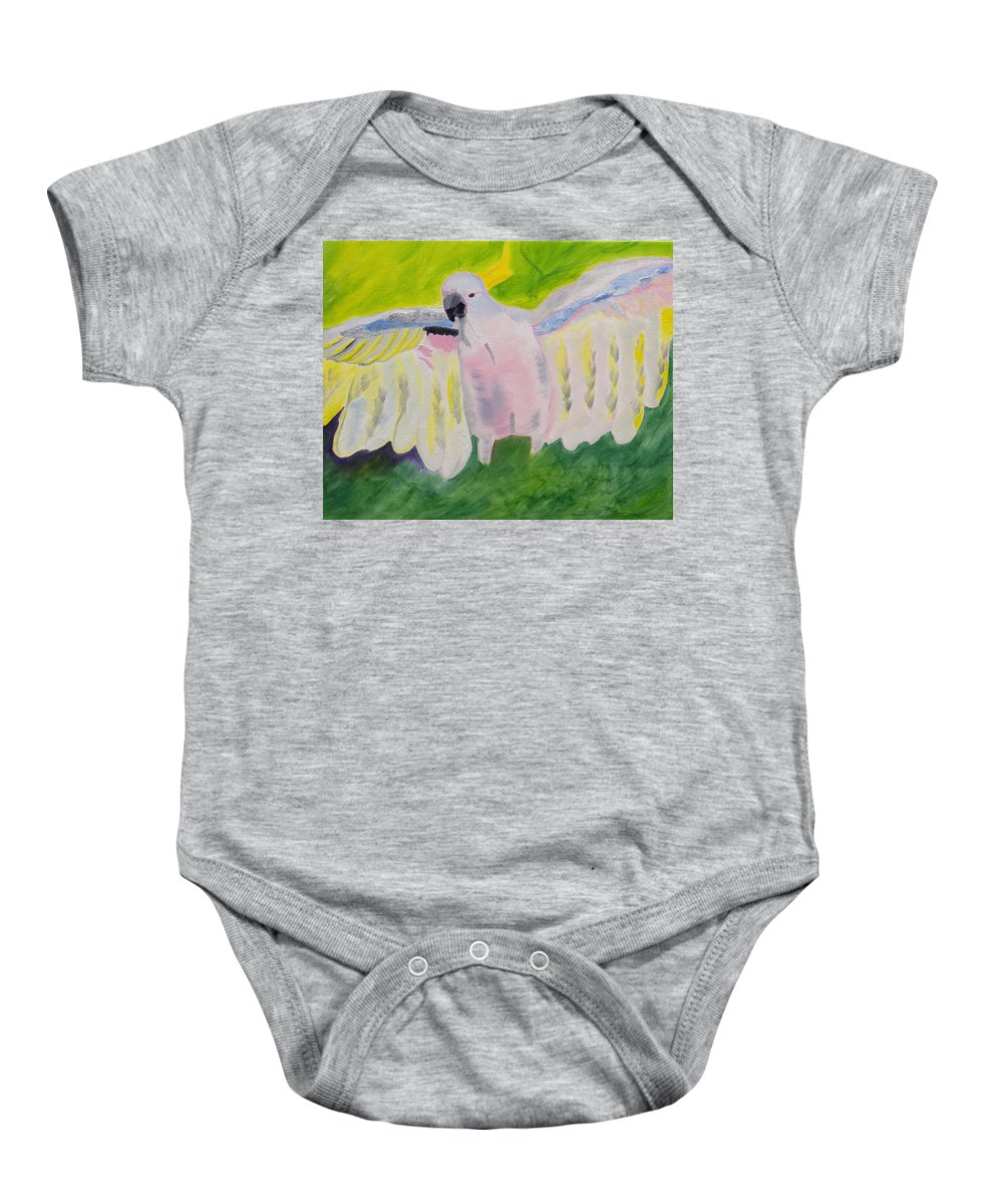 Cockatoo Baby Onesie featuring the painting Pastel Feathered Cockatoo by Meryl Goudey