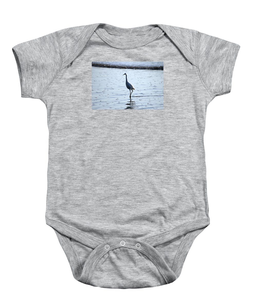 White Egret Baby Onesie featuring the photograph White Egret by Alex Antoine