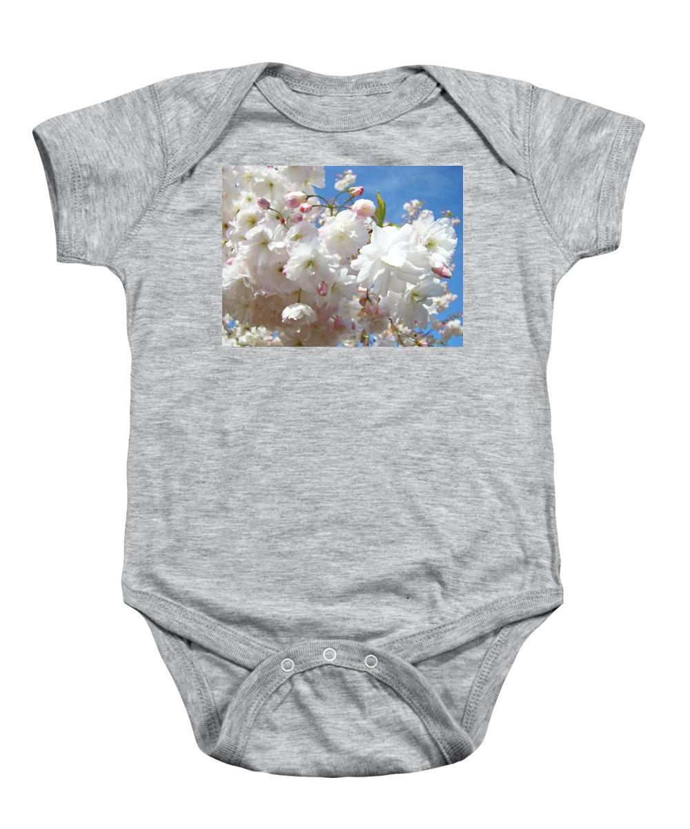 Colorful Baby Onesie featuring the photograph White Floral Tree Flower Blossoms Art Baslee Troutman by Baslee Troutman