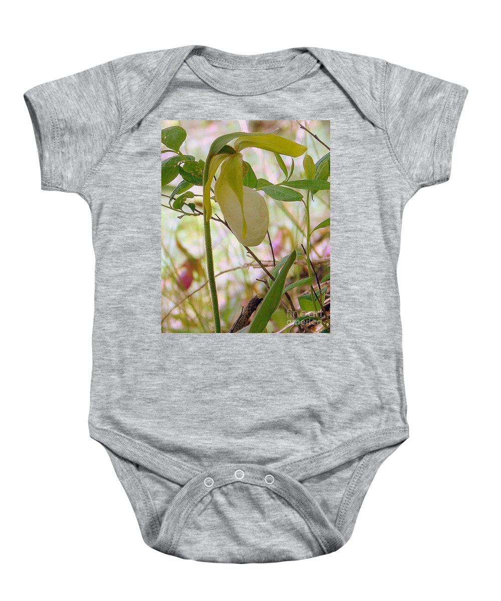 Nature Baby Onesie featuring the photograph White Lady Slipper by Priscilla Richardson