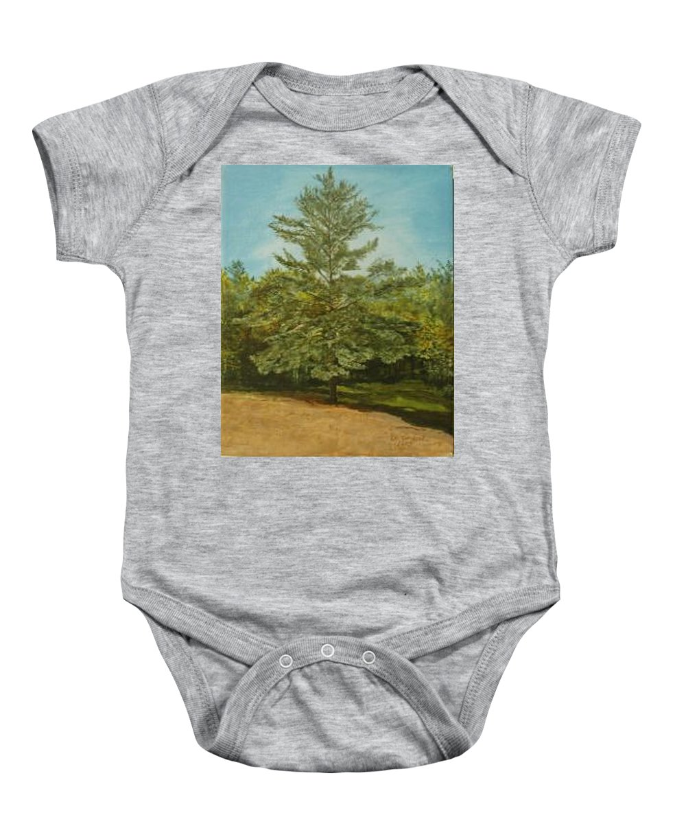 Pine Tree Baby Onesie featuring the painting White Lake by Leah Tomaino