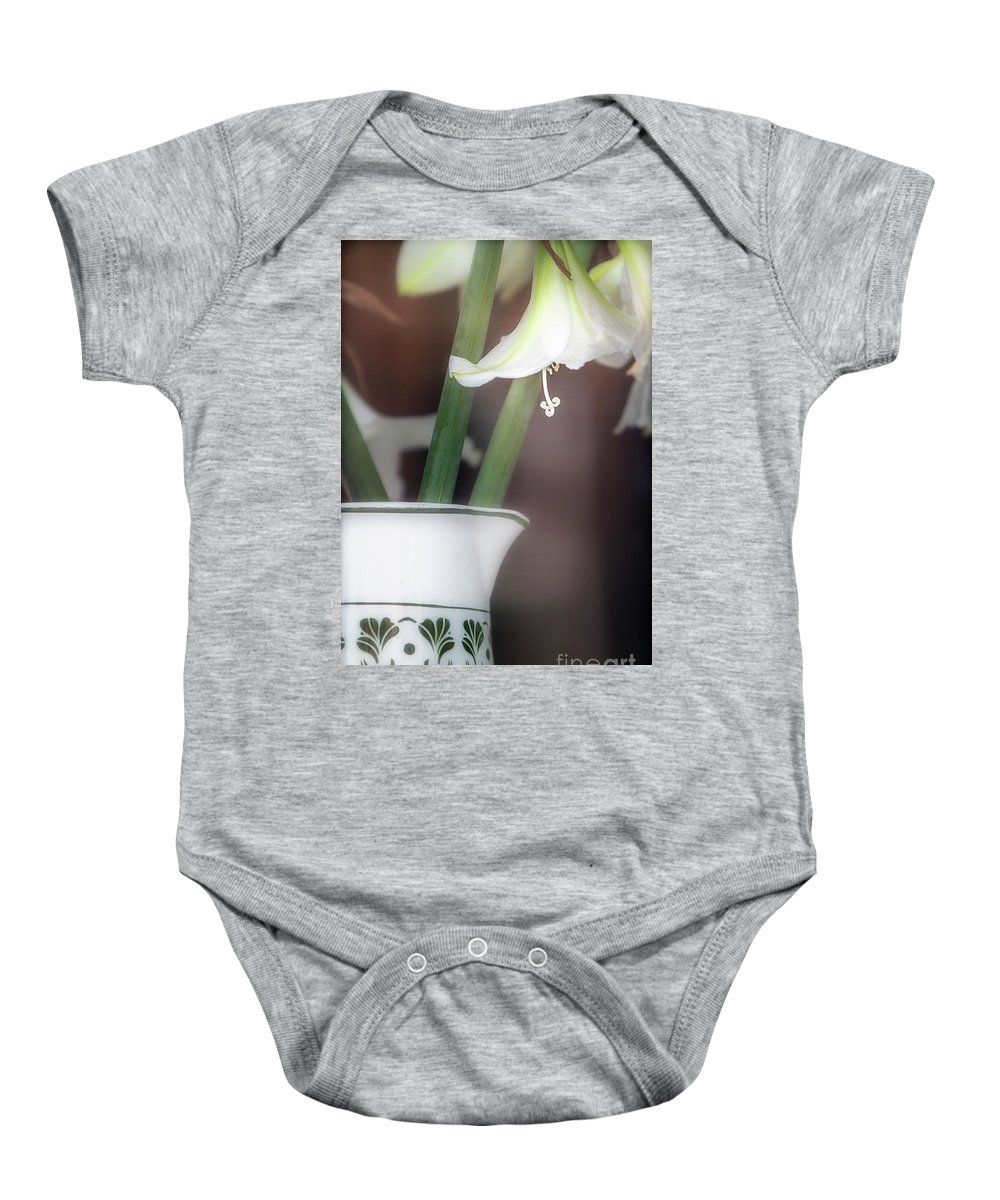 Amsterdam Baby Onesie featuring the photograph White Lillies by Doug Sturgess