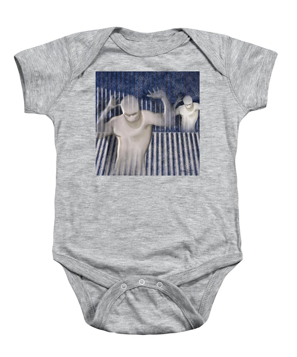 Drugs Prison Waste Fear Hell Baby Onesie featuring the mixed media White Lines by Veronica Jackson