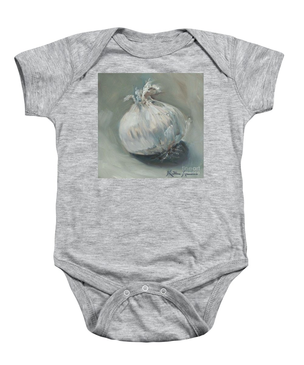 Onion Baby Onesie featuring the painting White Onion No. 1 by Kristine Kainer