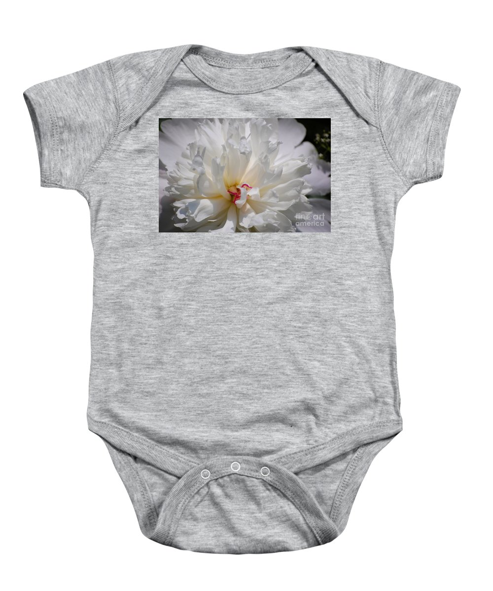Digital Photography Baby Onesie featuring the photograph White Peony by David Lane