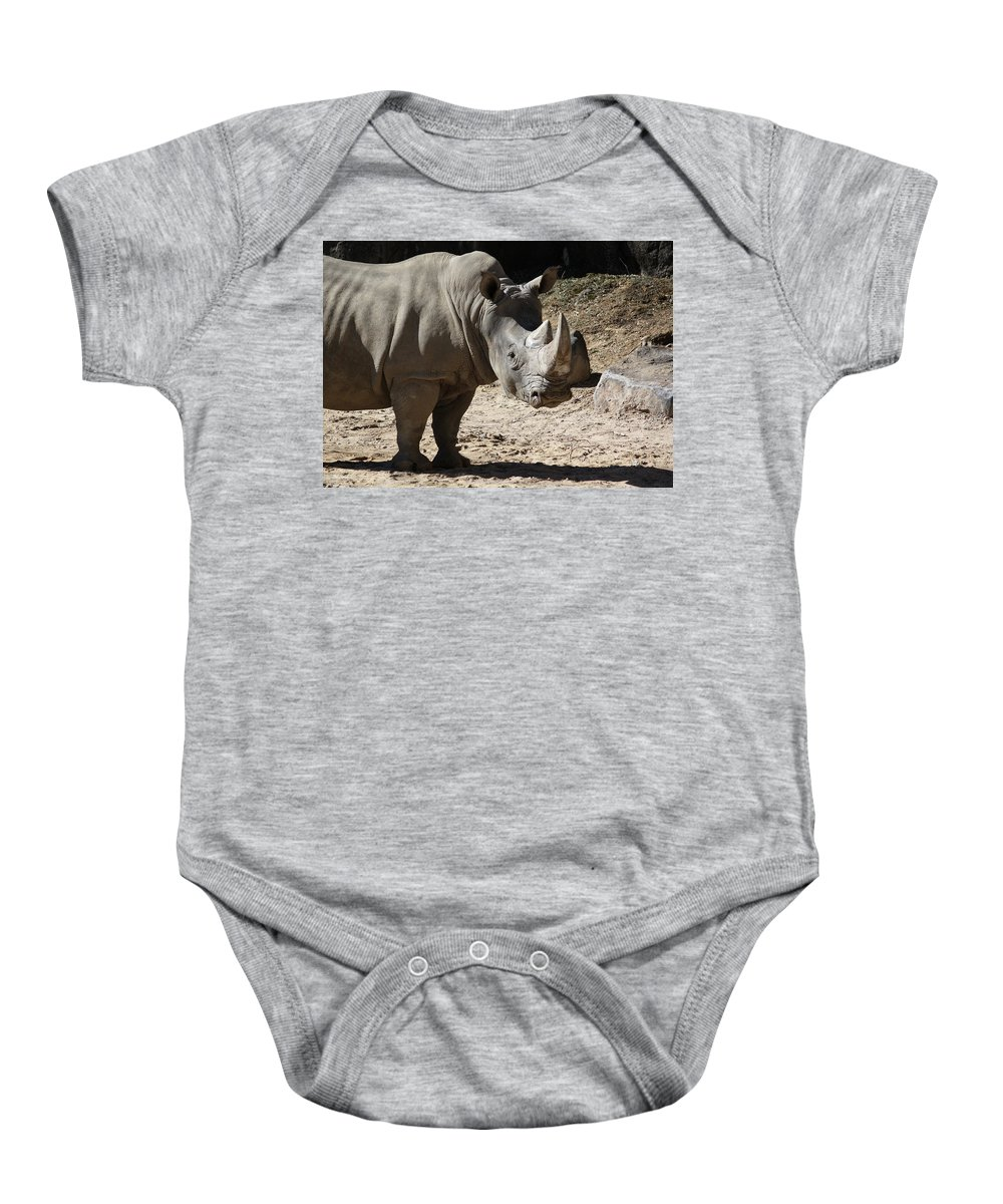 Maryland Baby Onesie featuring the photograph White Rhino by Ronald Reid