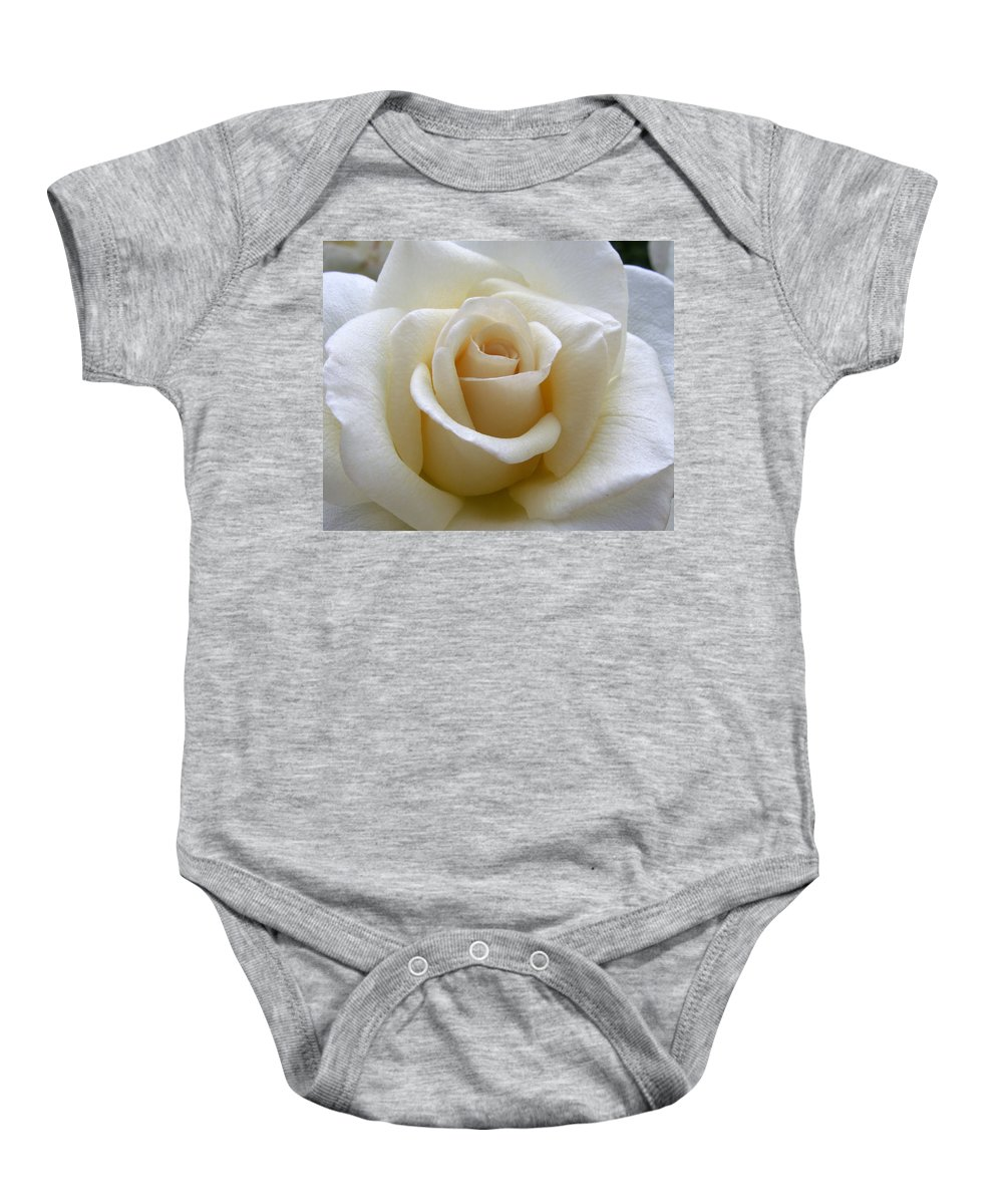Roses Baby Onesie featuring the photograph White Rose by Amy Fose