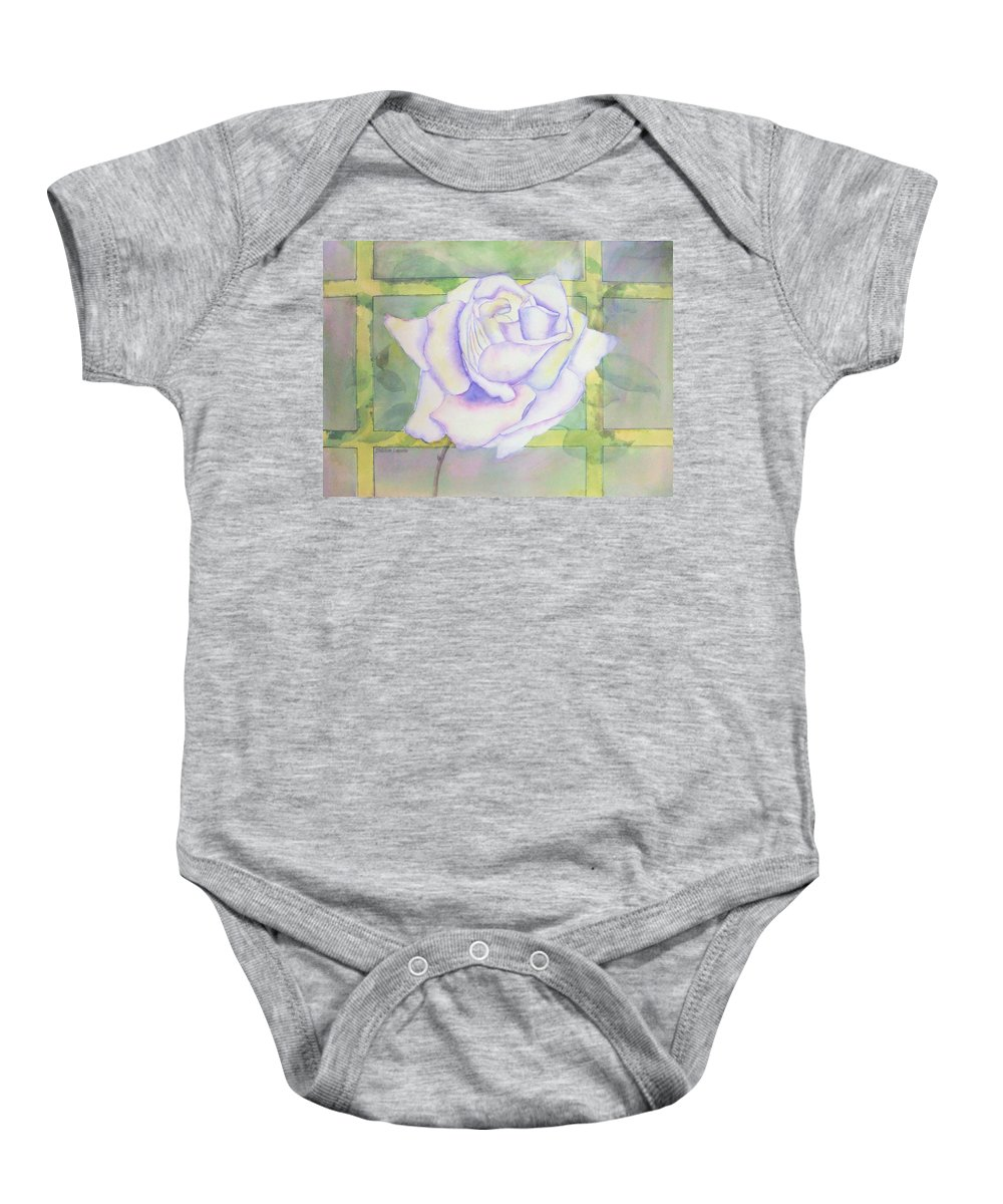 Watercolor Baby Onesie featuring the painting White Rose by Debbie Lewis