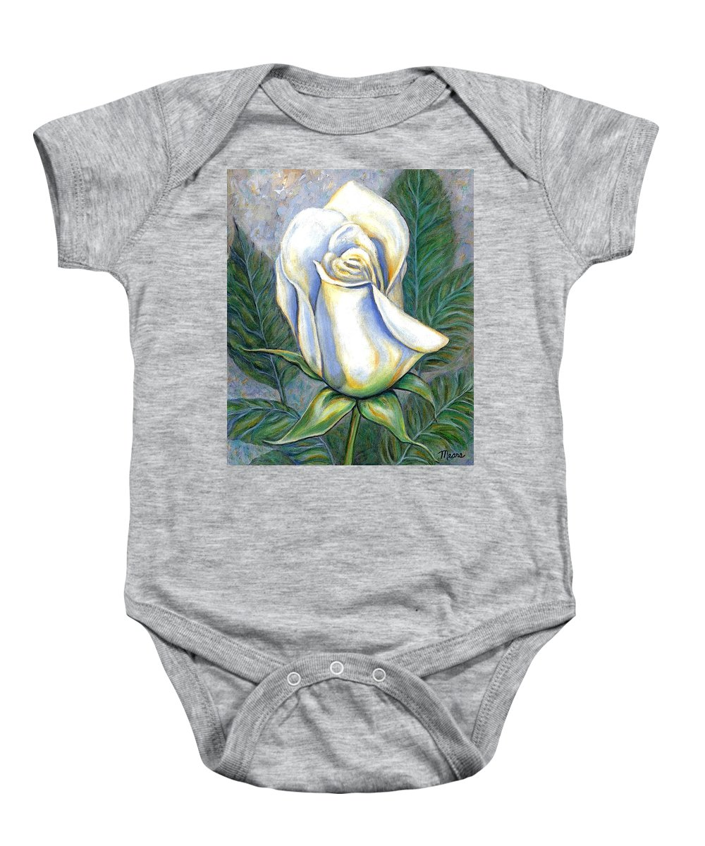 Rose Baby Onesie featuring the painting White Rose One by Linda Mears