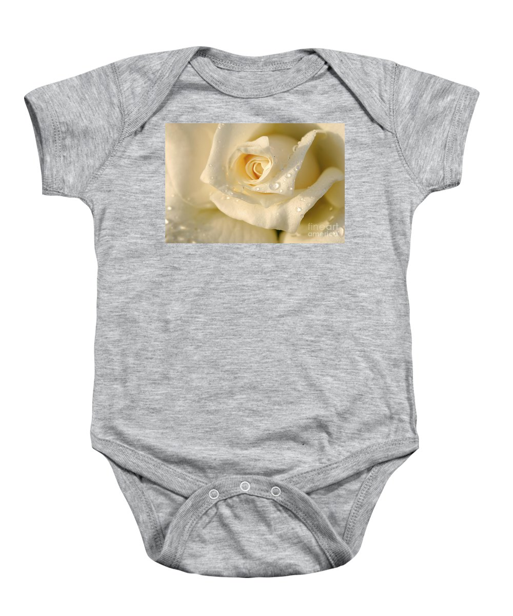 White Baby Onesie featuring the photograph White Rose by Yedidya yos mizrachi