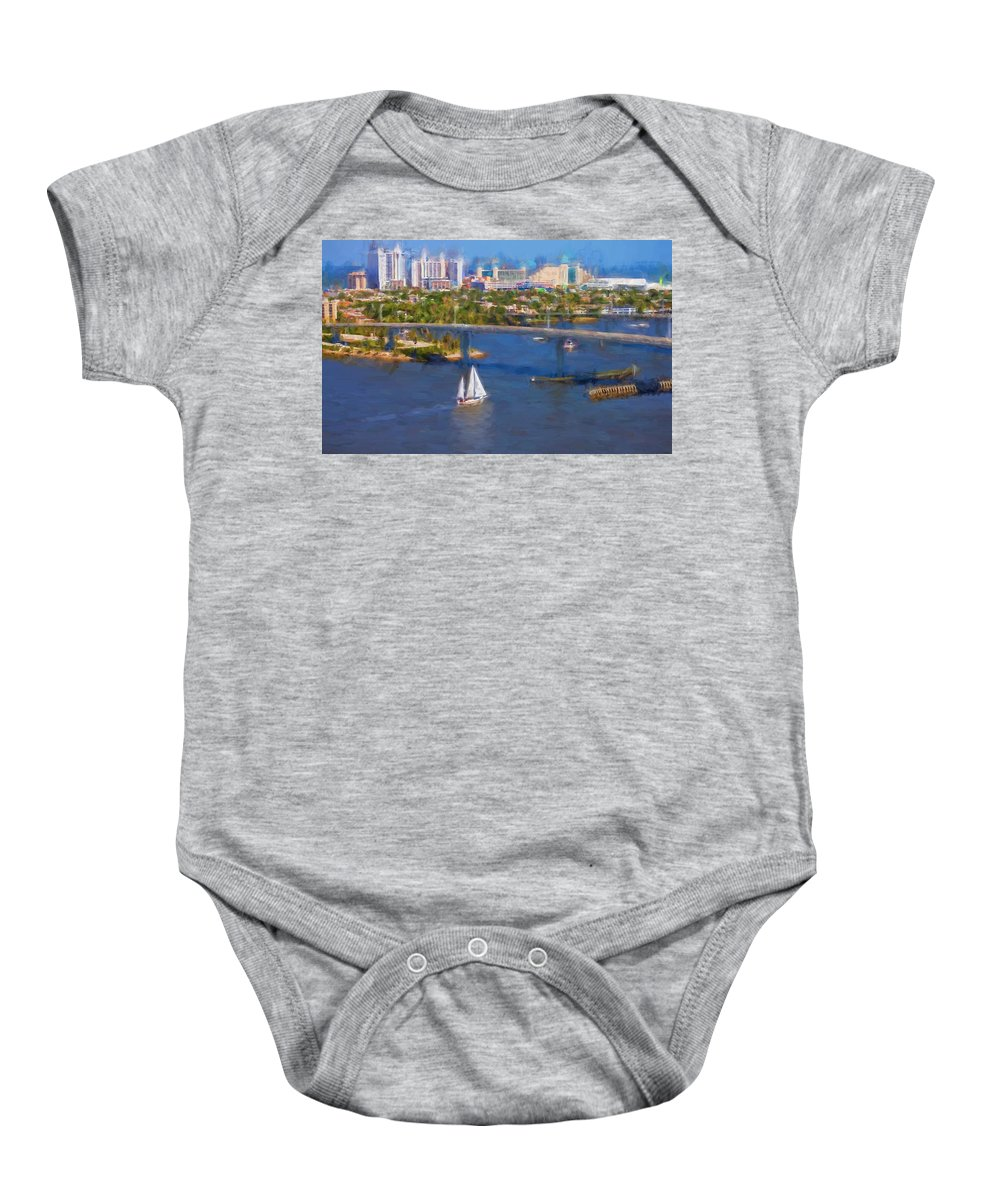 Alicegipsonphotographs Baby Onesie featuring the photograph White Sailboat On The Water by Alice Gipson