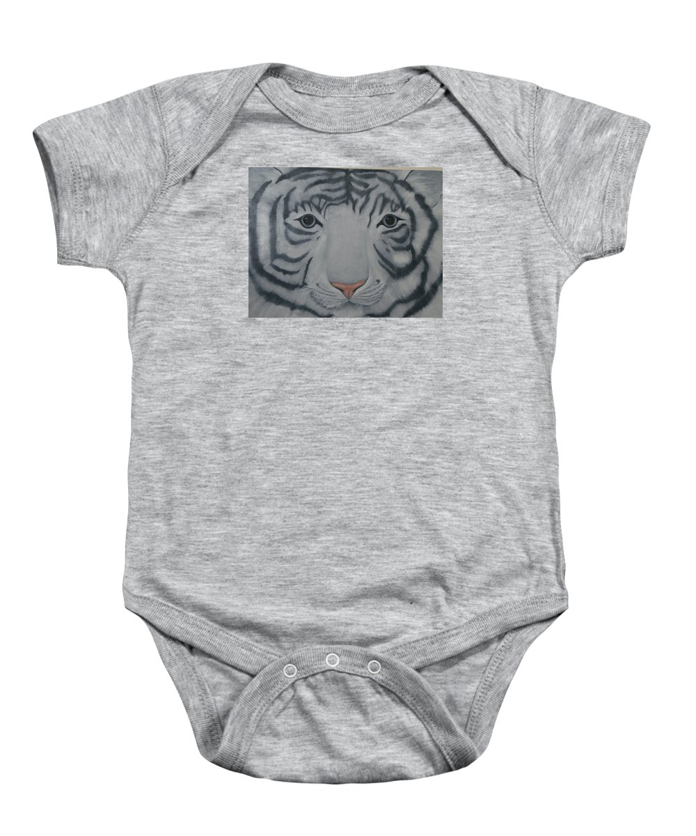 White Tiger Baby Onesie featuring the painting White Tiger by Toni Berry