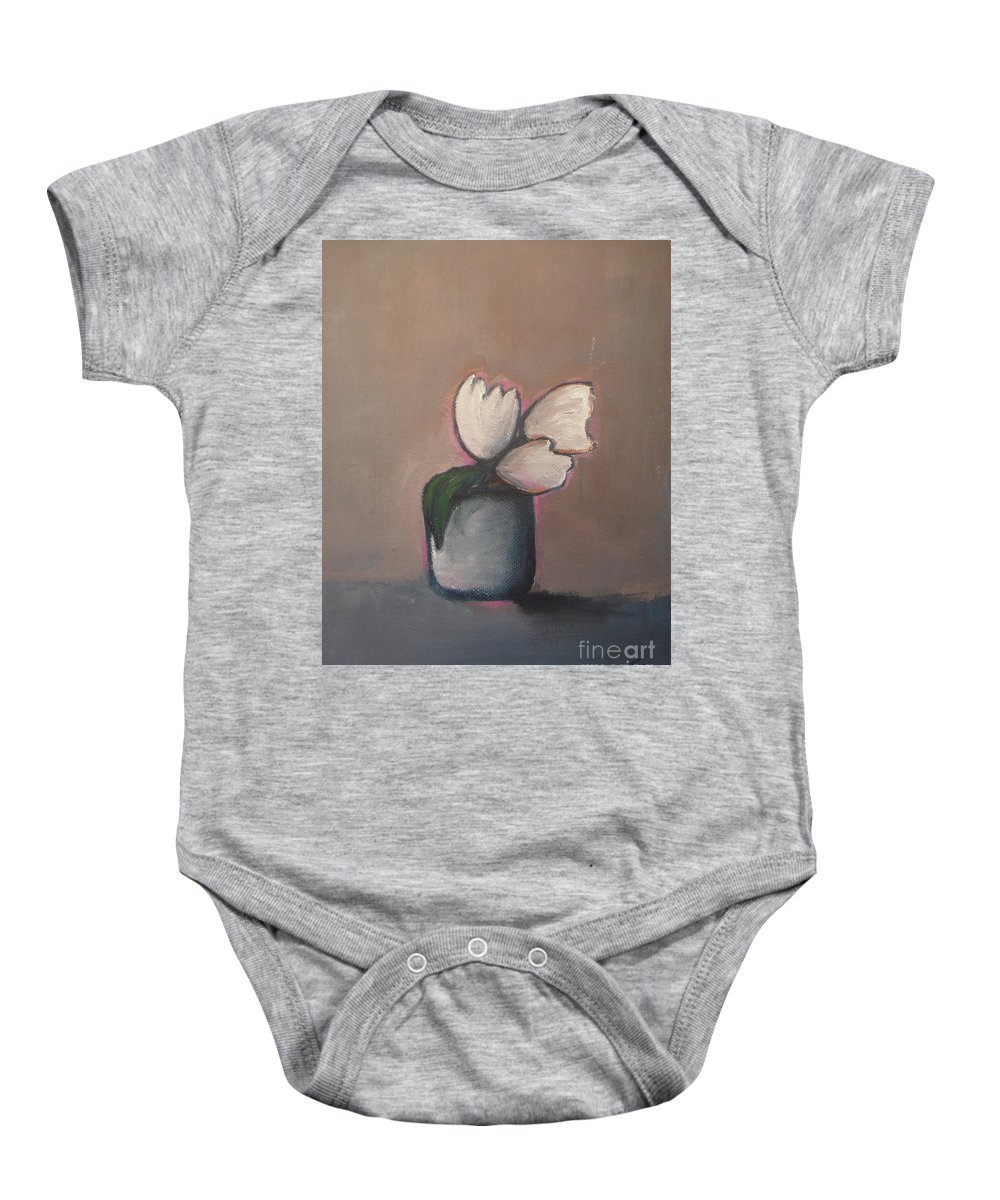 Abstract Baby Onesie featuring the painting White Tulips - Abstract Art by Vesna Antic