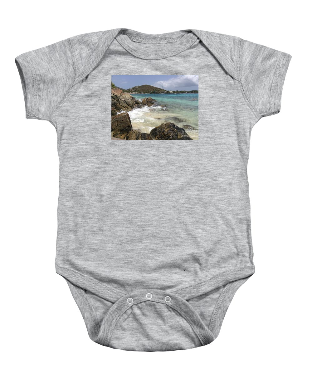 Islands Baby Onesie featuring the photograph White Waves Crashing by Gina Sullivan