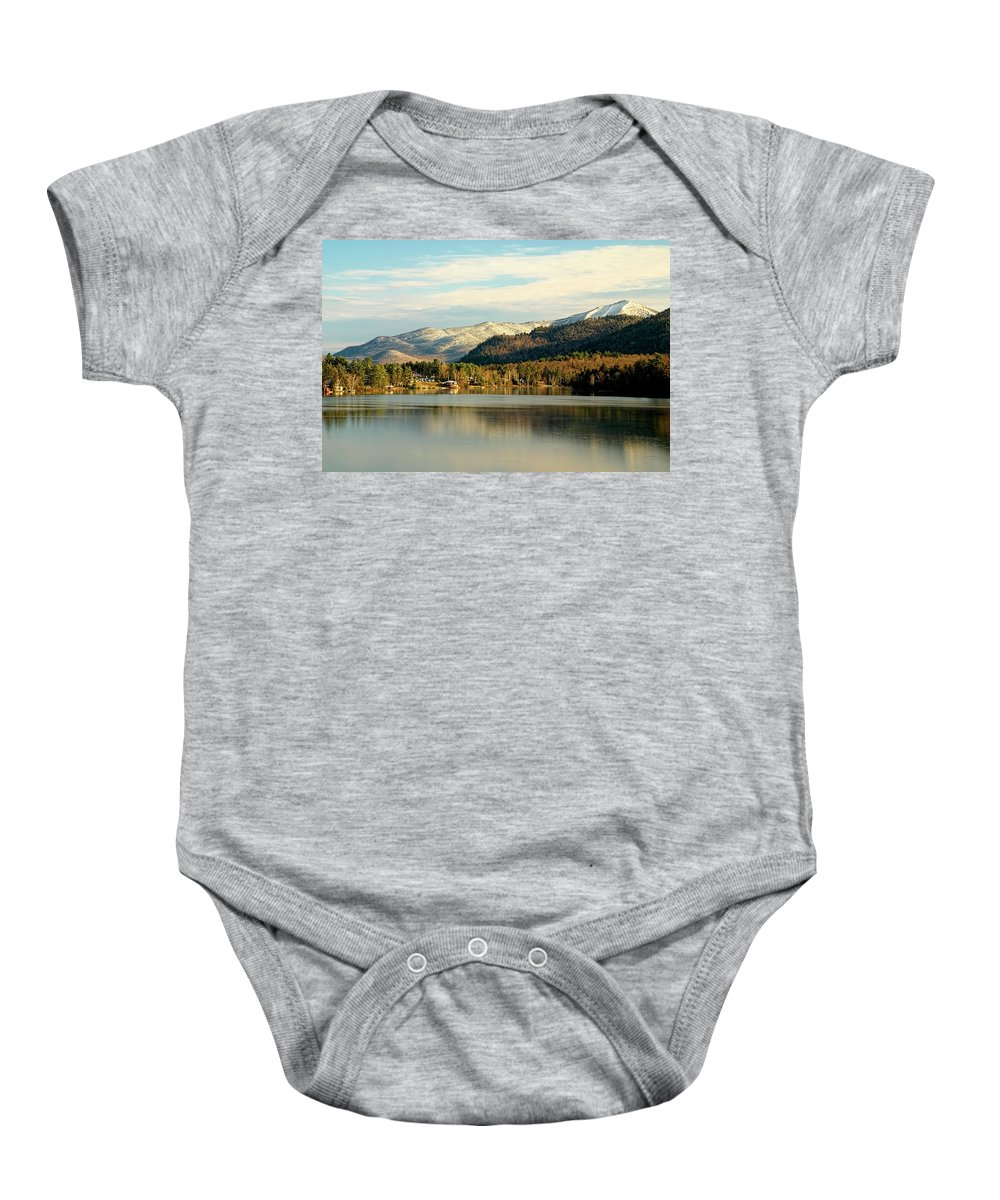 Whiteface Baby Onesie featuring the photograph Whiteface Dusting by Tony Beaver