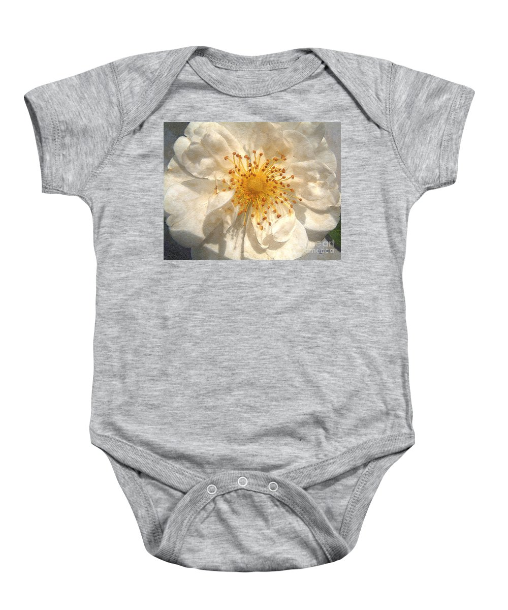 Rose Baby Onesie featuring the painting Wide Open by RC deWinter