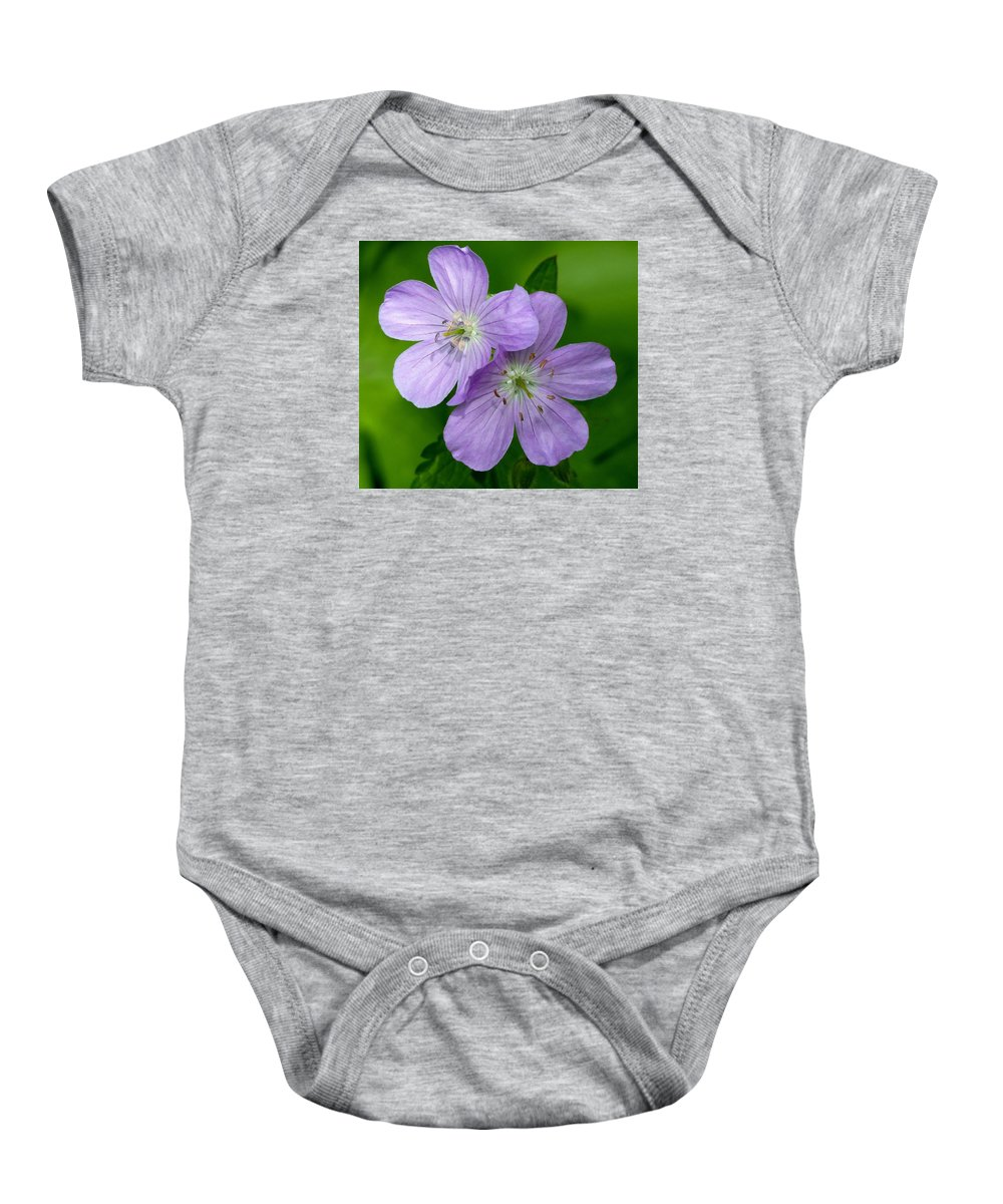 Outdoors Baby Onesie featuring the photograph Wild Geranium by Charles Ford