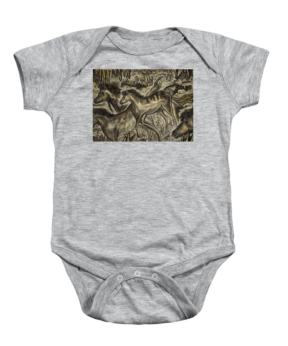 Horse Baby Onesie featuring the mixed media Wild Horse Cavern by Philip Harvey