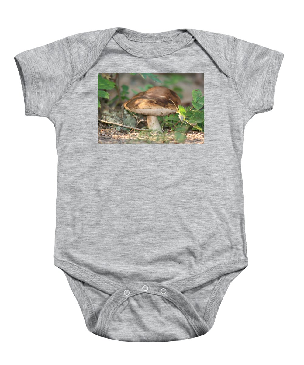 Mushroom Wild Plants Nature Forest Earth Natural Baby Onesie featuring the photograph Wild Mushroom by Andrea Lawrence