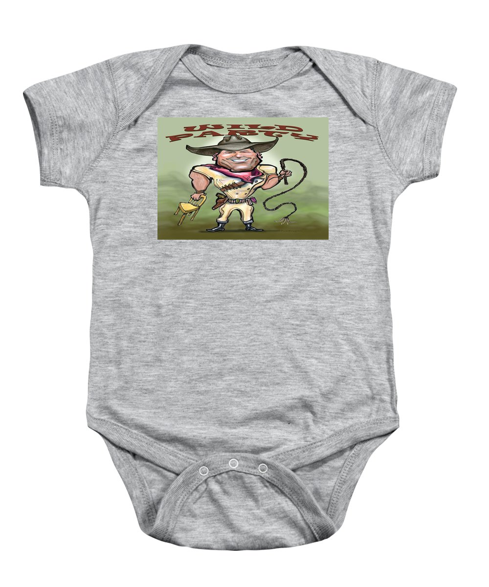 Wild Party Baby Onesie featuring the greeting card Wild Party by Kevin Middleton