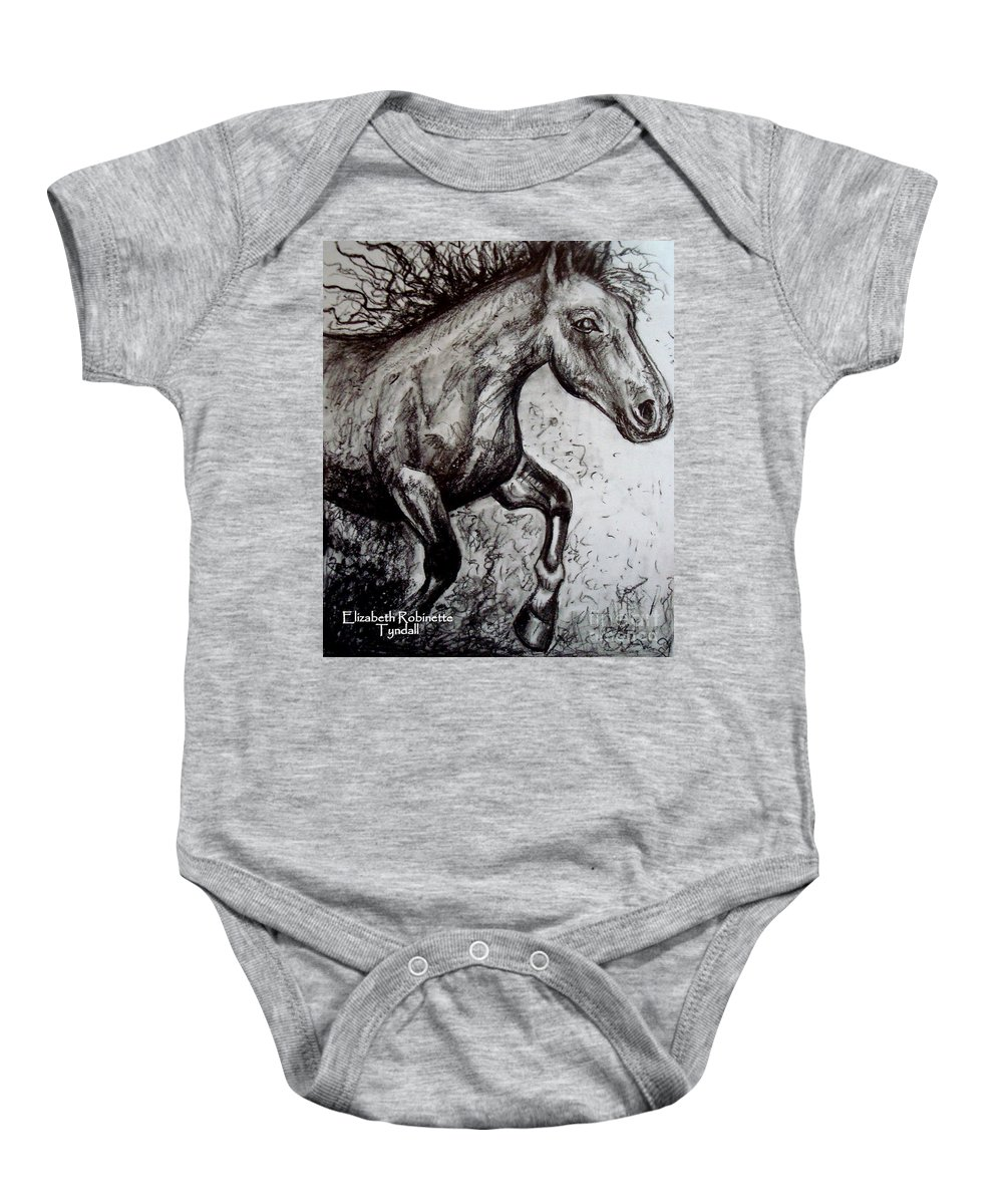 Horse Baby Onesie featuring the painting Wild Stallion by Elizabeth Robinette Tyndall