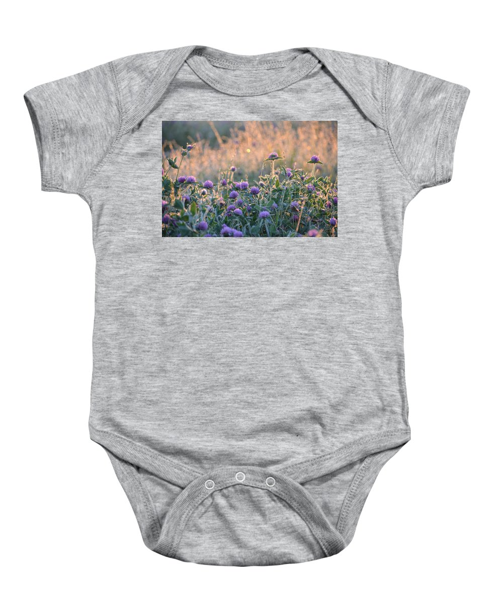 Wildflowers At Sunrise Baby Onesie featuring the photograph Wildflowers At Sunrise by Maria Urso