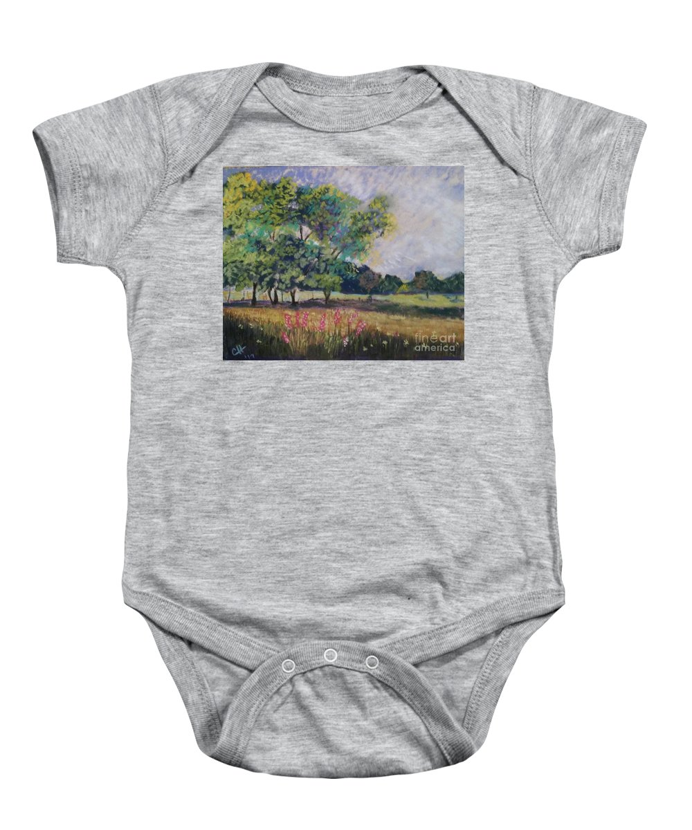 Landscapes Baby Onesie featuring the pastel Wildflowers Best Stay Wild by Catrina Hampton