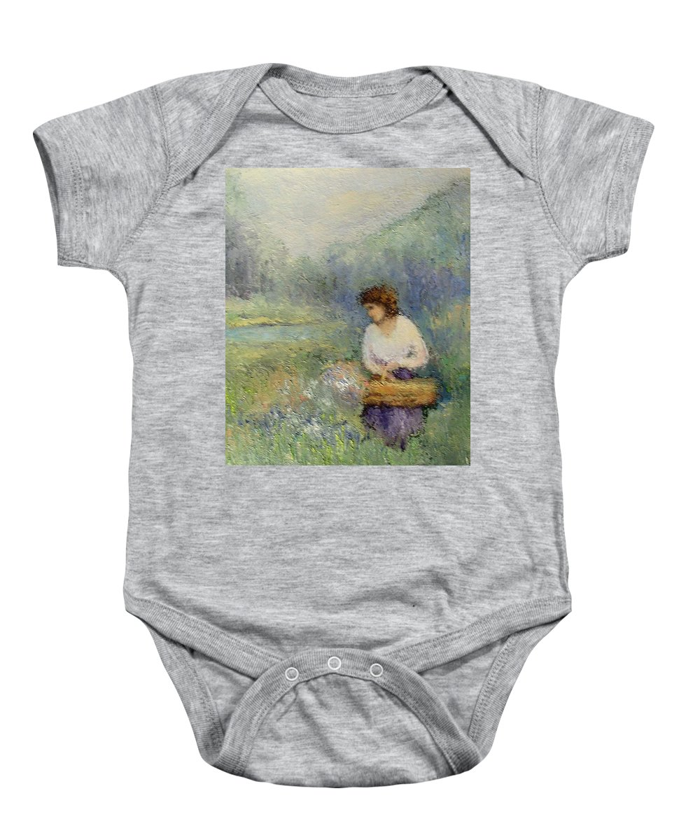 Woman Baby Onesie featuring the painting Wildflowers by Gail Kirtz