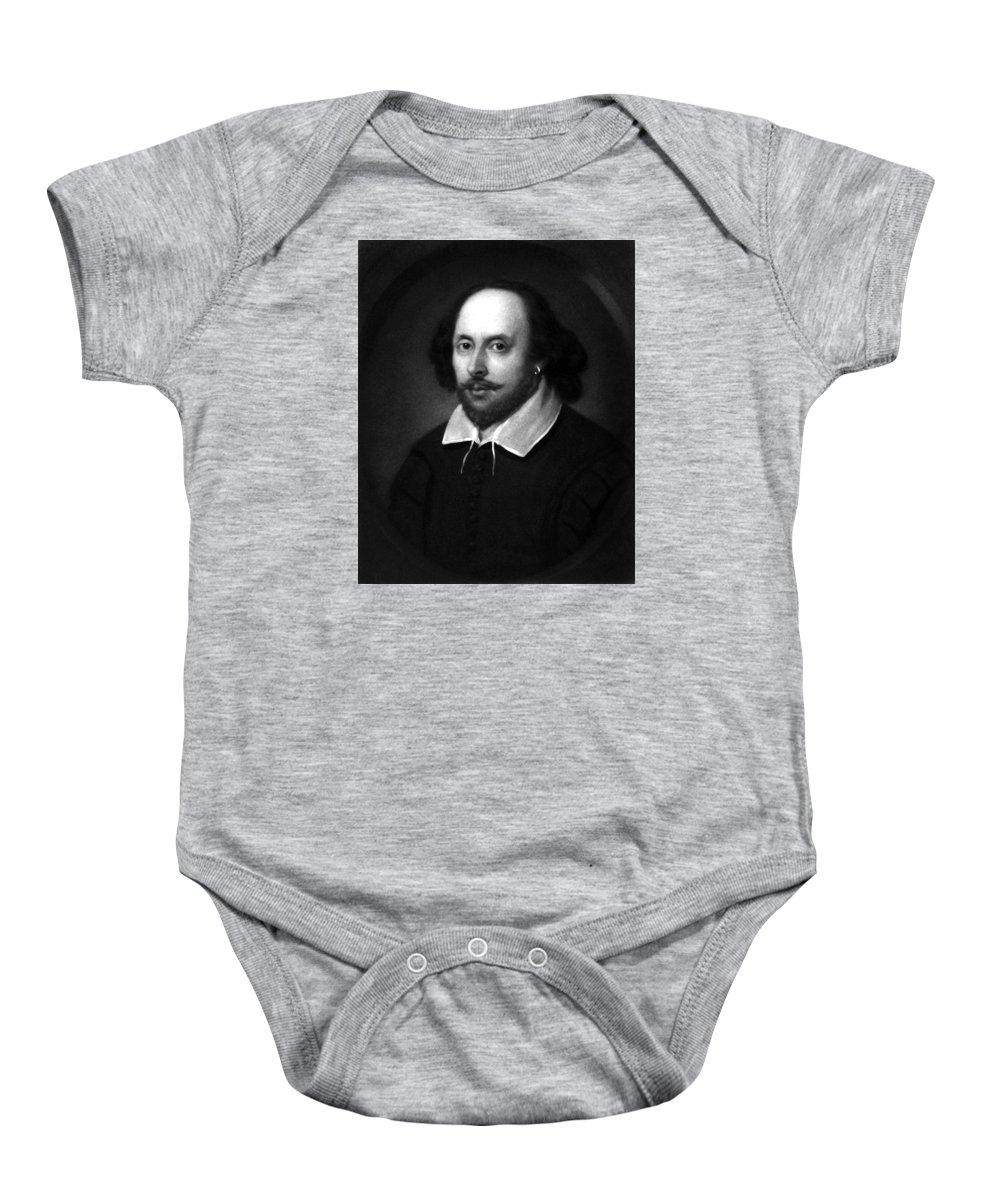 William Shakespeare Baby Onesie featuring the drawing William Shakespeare by War Is Hell Store