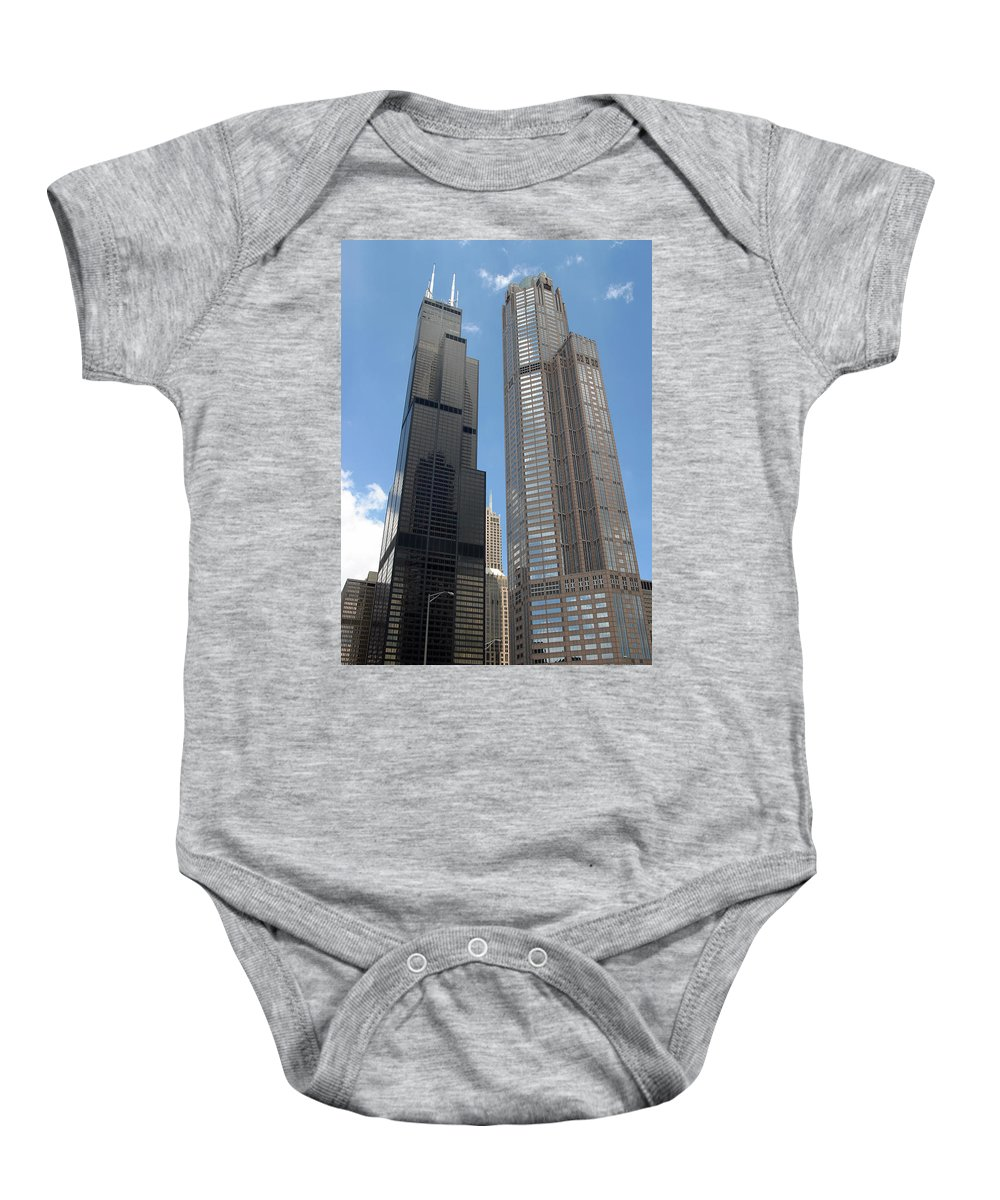 3scape Baby Onesie featuring the photograph Willis Tower Aka Sears Tower And 311 South Wacker Drive by Adam Romanowicz