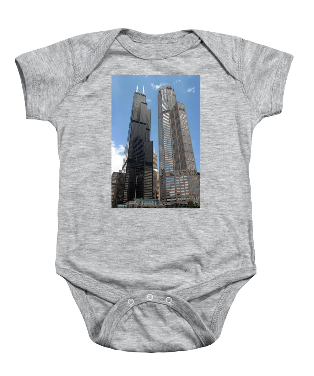 3scape Photos Baby Onesie featuring the photograph Willis Tower Aka Sears Tower And 311 South Wacker Drive by Adam Romanowicz
