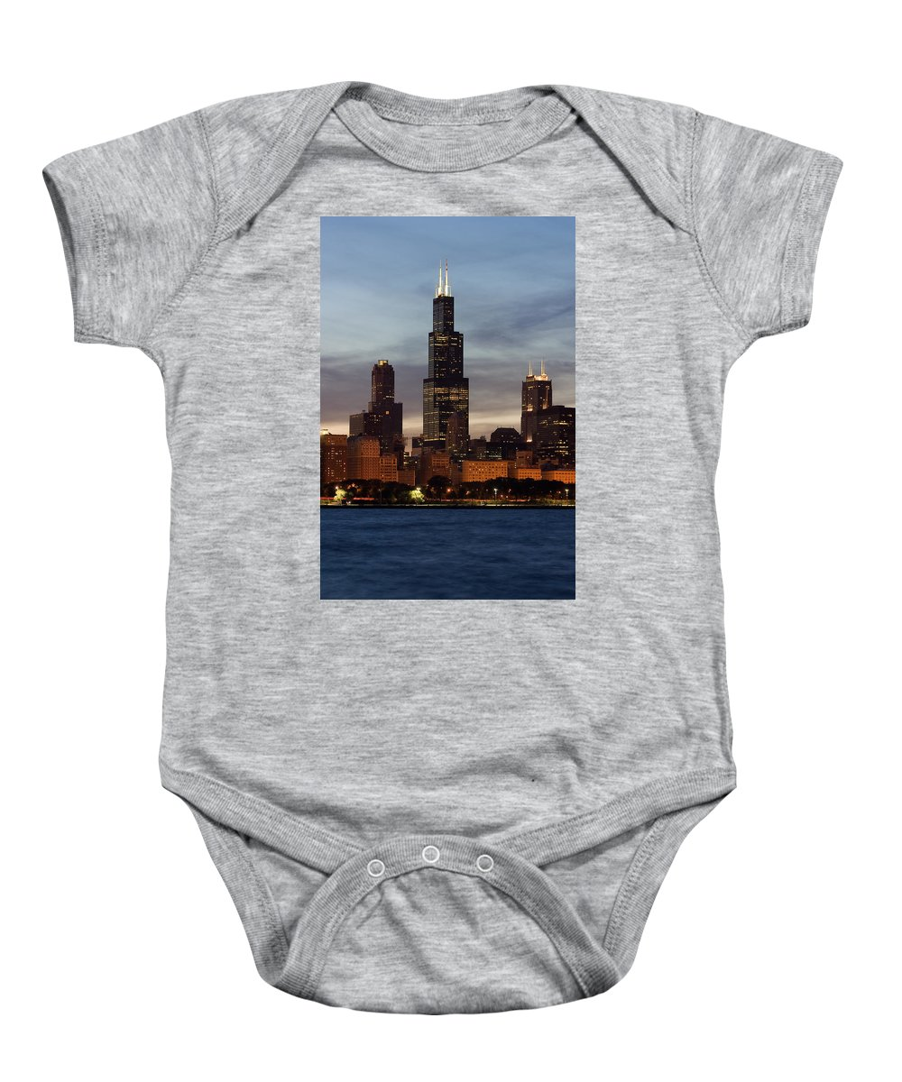 3scape Photos Baby Onesie featuring the photograph Willis Tower At Dusk Aka Sears Tower by Adam Romanowicz