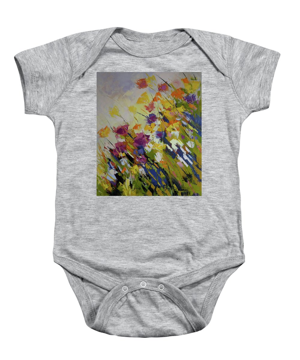 Flowers Baby Onesie featuring the painting Wind Blown by Yvonne Ankerman