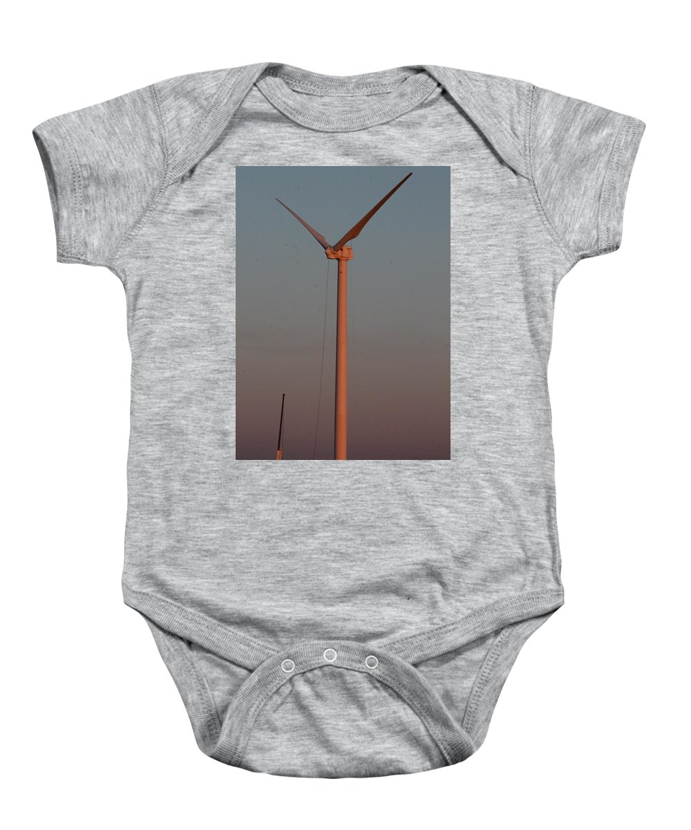 Wind Turbines Baby Onesie featuring the photograph Wind Turbine Sunset Work by Wayne Williams