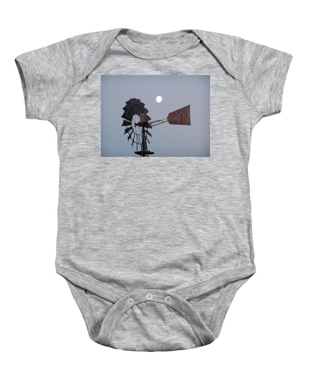 Windmill Baby Onesie featuring the photograph Windmill Moon by Gale Cochran-Smith