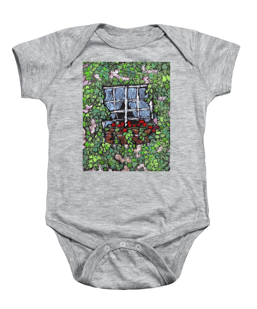 Flowers Baby Onesie featuring the painting Window Flower Box by Wayne Potrafka