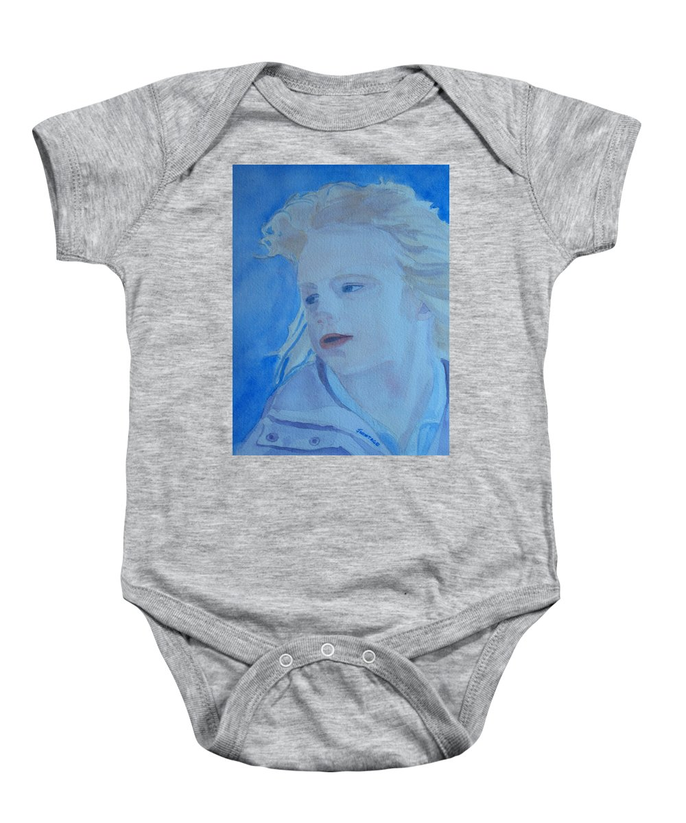 Portrait Portraits Baby Onesie featuring the painting Windswept by Jenny Armitage