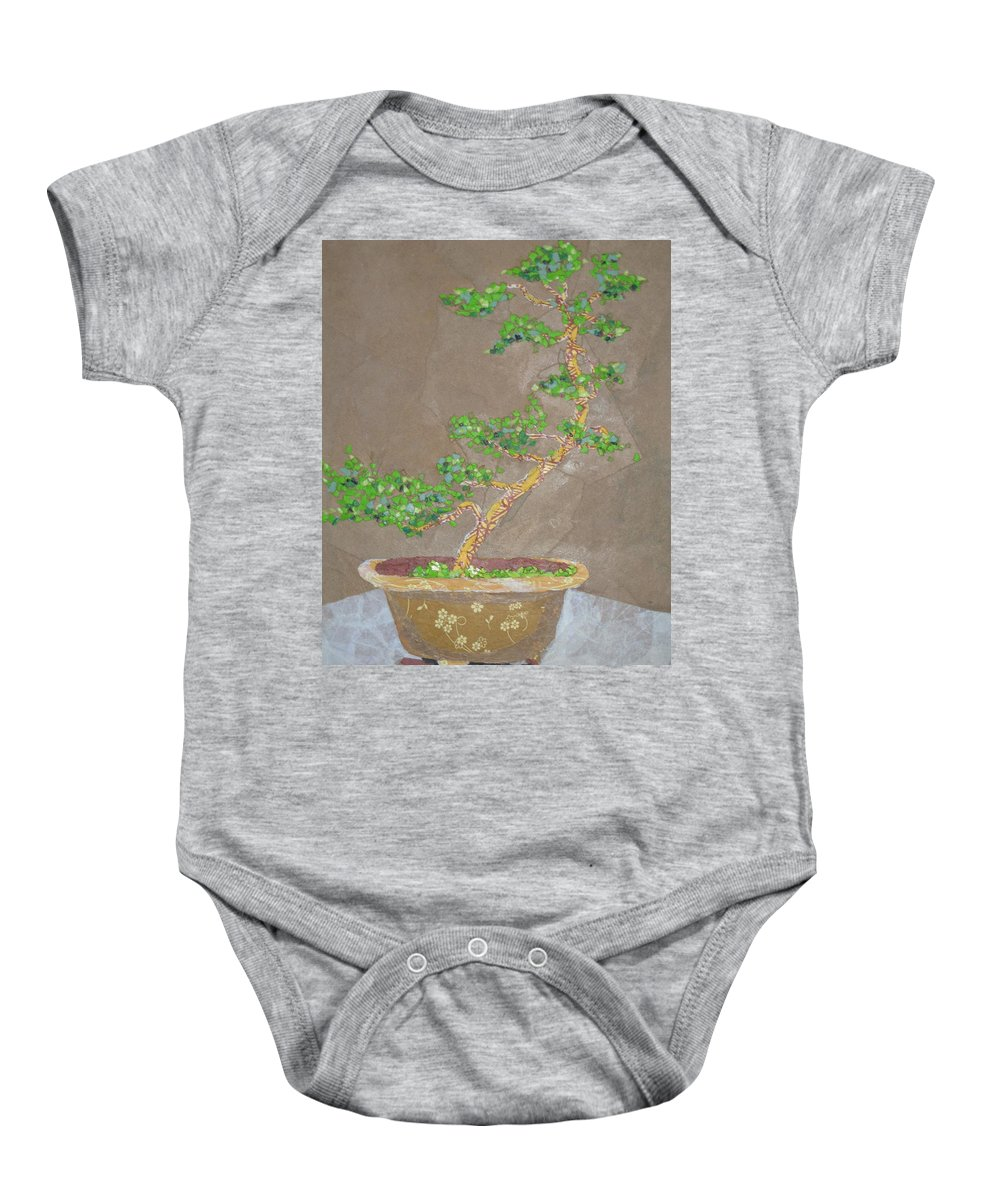 Banzai Tree Baby Onesie featuring the painting Windswept Juniper by Leah Tomaino