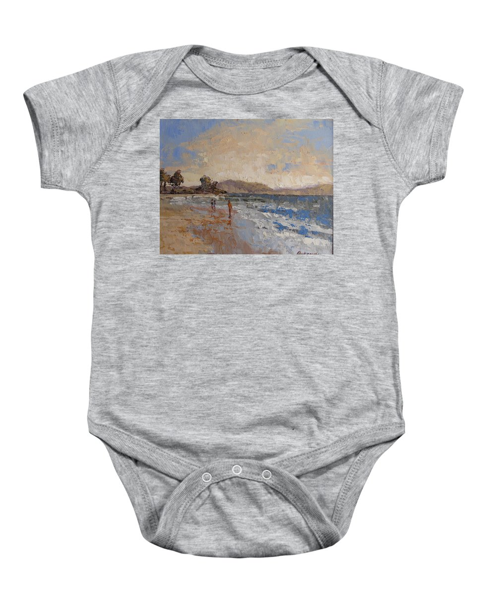 Seascape.sea Baby Onesie featuring the painting Windy Day At Sea by Yvonne Ankerman