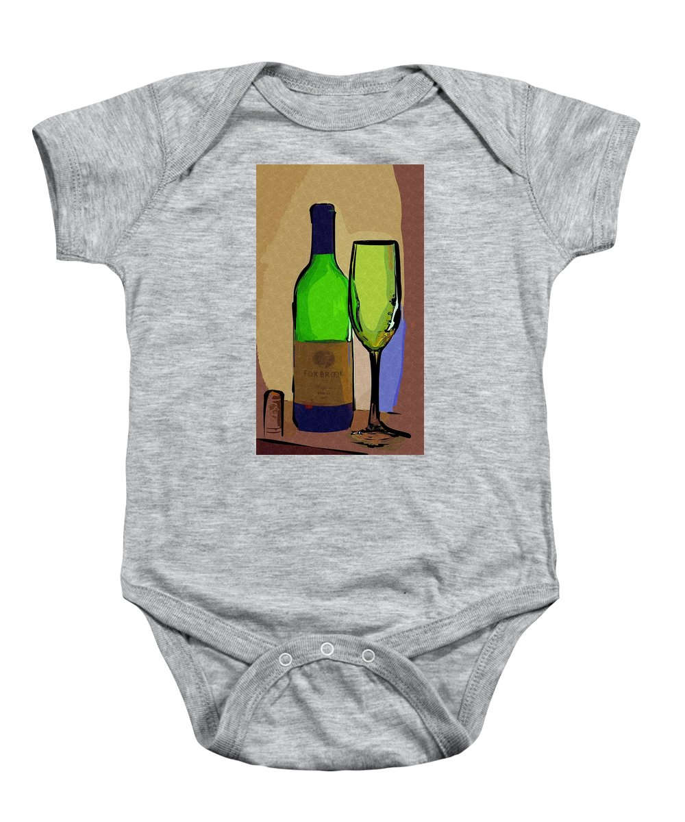Wine Baby Onesie featuring the photograph Wine And Glass by Donna Bentley
